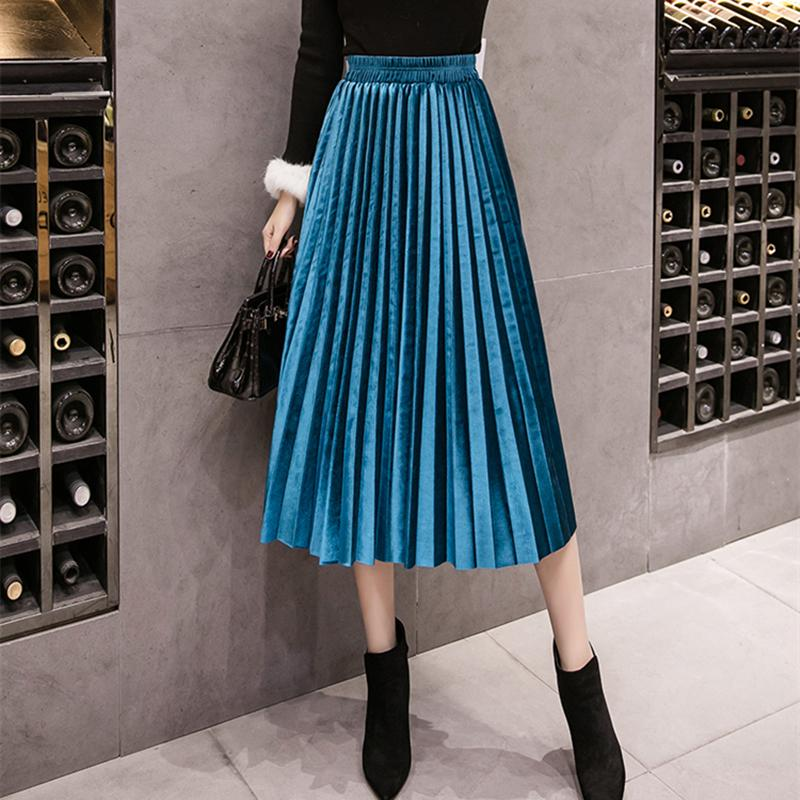 e05e88da37 2019 2018 Autumn Winter Velvet Skirt High Waisted Skinny Large Swing ...