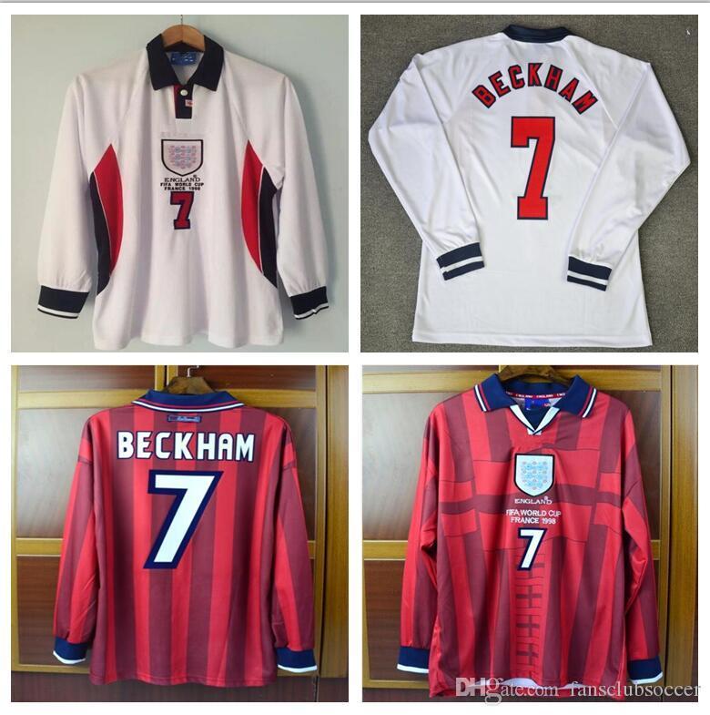 c73ea30cd89 Long sleeve Retro Soccer Jerseys 1998 home white away red World cup Beckham  Owen Shearer Jerseys 98 football shirt