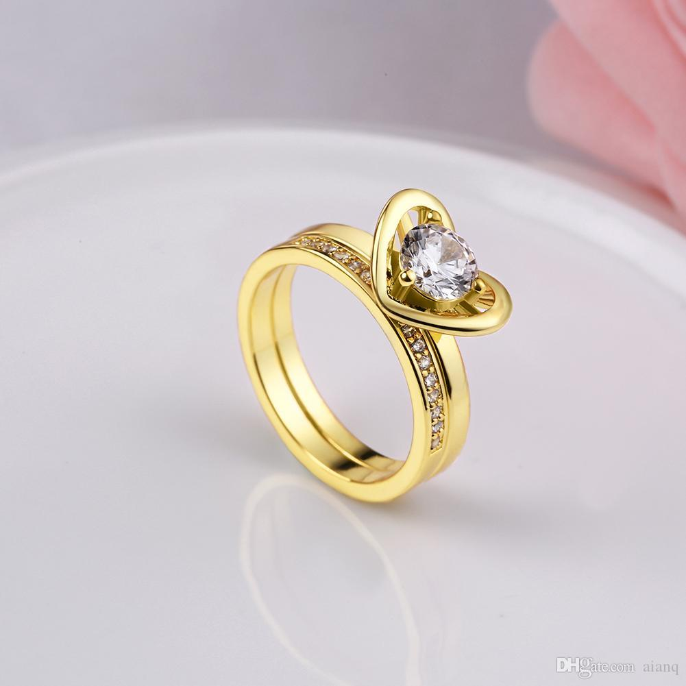 Heart-Shaped Double Gold Plated / Silver Couple Ring Men's And Women's 2-Pc Wedding Engagement Ring Set Simulated Diamond Jewelry