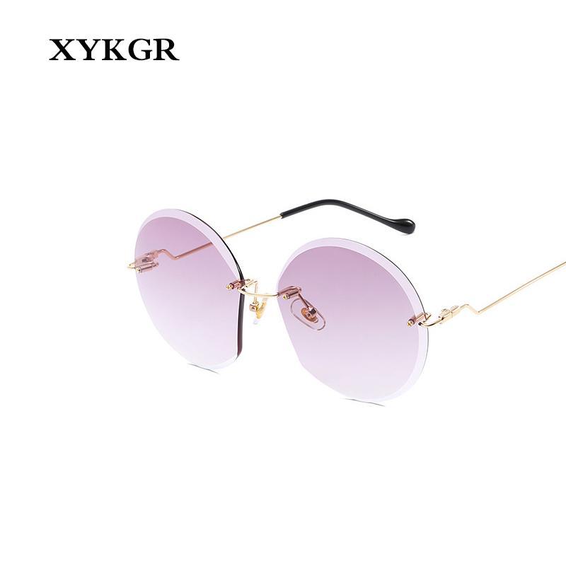 c7c2c8f5ac XYKGR Retro Ladies Round Glasses Brand Designer Frameless Pink ...