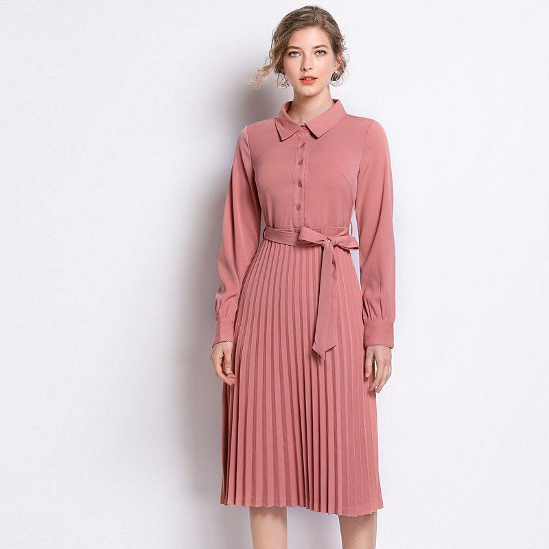 Plus Size Long Sleeve Bow Sashes Tunic Pleated Dress Women Elegant ...