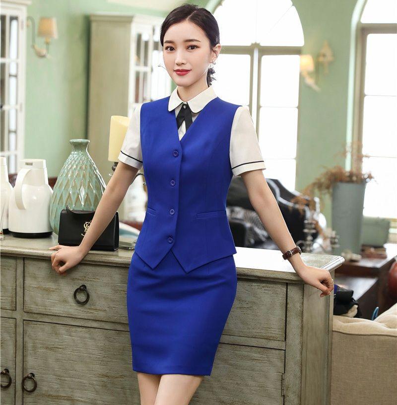 128d9e772d Formal Das Senhoras Colete Azul Colete Mulheres Ternos de Negócios com Saia  e Conjuntos de Topo de Trabalho Desgaste do Escritório Estilos Uniformes
