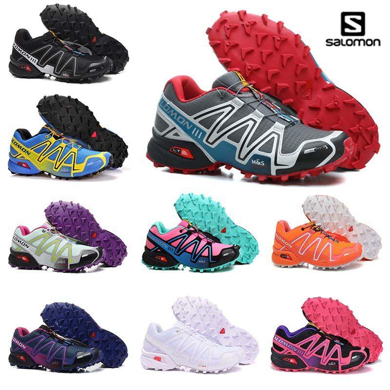 b397a5452653f Compre Solamon Velocidade Cruz 4 IV CS TUDO Preto Branco Vermelho Sapatos  De Caminhada Homem Respirável De Atletismo Malha Sapatos De Corrida Sports  OFF ...