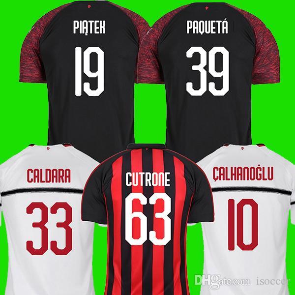 check out 2363c c7479 Acheter AC Milan 18 19 Maillots De Football 2018 2019 PIĄTEK PAQUETÁ Ac  Milan Football Chemise BONUCCI KESSIE ANDRÉ SILVA CONTI Camisa CALHANOGLU  KALINIC ...