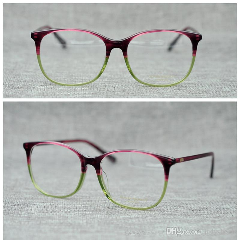 cb1e53ddc169 2019 Retro Square Glasses Big Frame Purple Green Eyeglasses Frame Adult  Contrast Color Brand Optical Spectacles Frame Oculos Gafas De Sol JH GO57  From ...