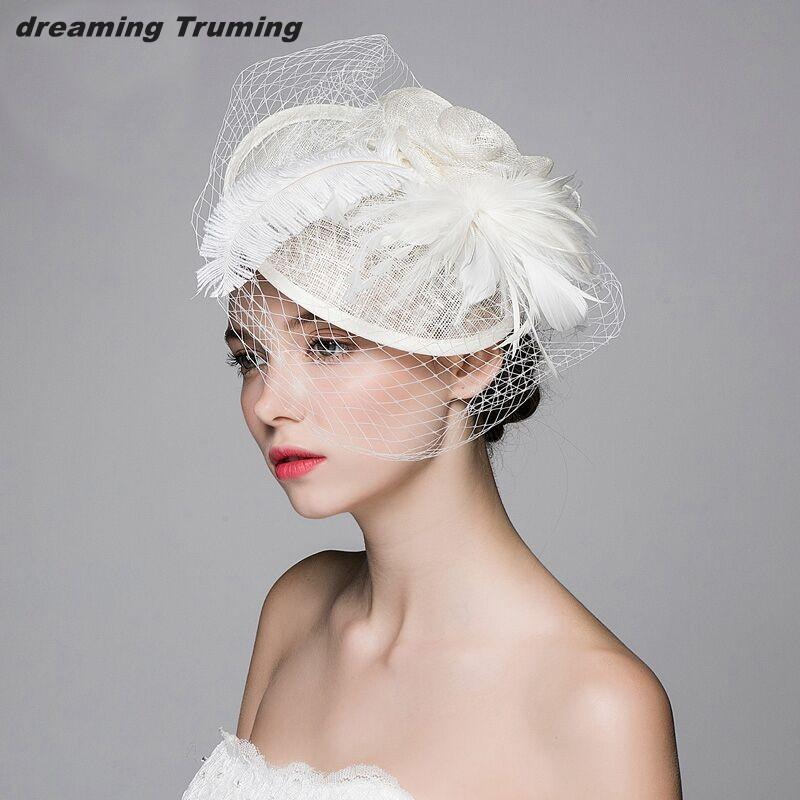Fashion Wedding Hats For Women Elegant 2019 Mesh Hat Ribbons And Feathers Bridal Face Veils And Fascinators With