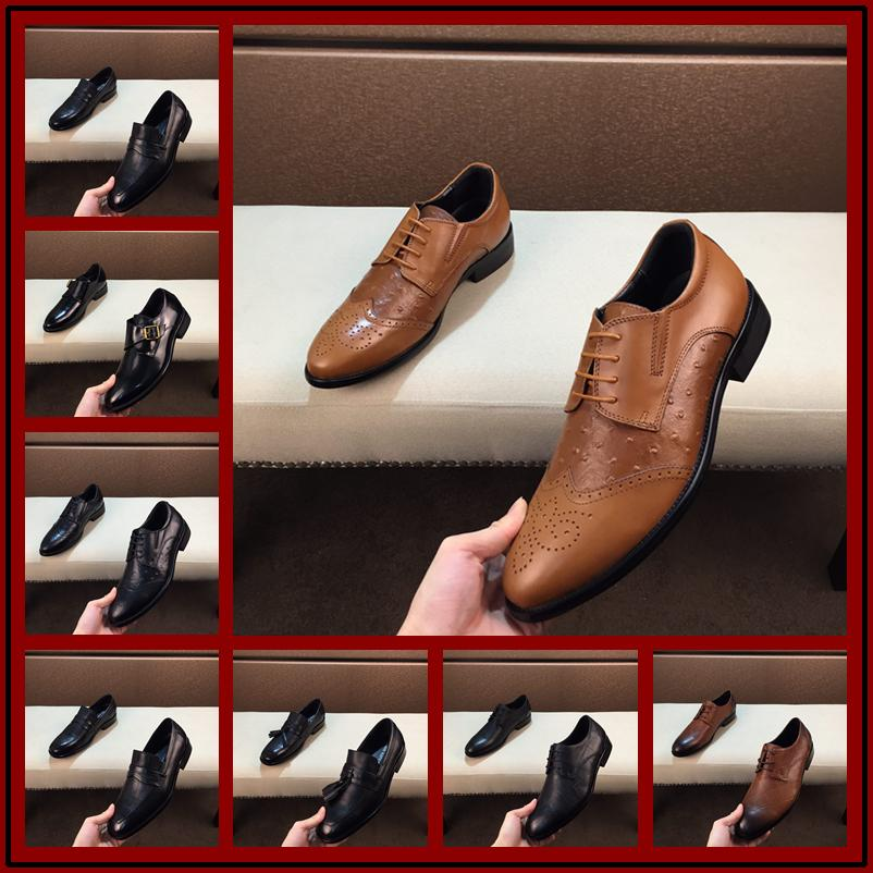 0ba35e0193 40 models Italian Fashion Real Leather Men Dress Shoes Pointed Toe Bullock  Oxfords Shoes For Men, Lace Up Designer Luxury Brand Men Shoes