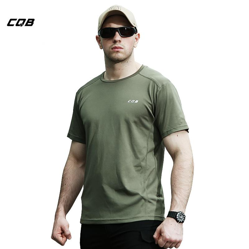 CQB Summer Tactical Hiking T Shirt Men Quick Dry Breathable Coolmax Tops Training Elastic Tees Fishing Shirt