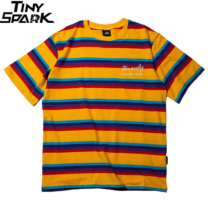 ec87e4c05f 2019 Harajuku Rainbow Stripe T Shirts Men Hip Hop Streetwear Tshirt Summer  Fashion Embroidery T Shirt Yellow Purple Korean Style Online T Shirt  Printing On ...