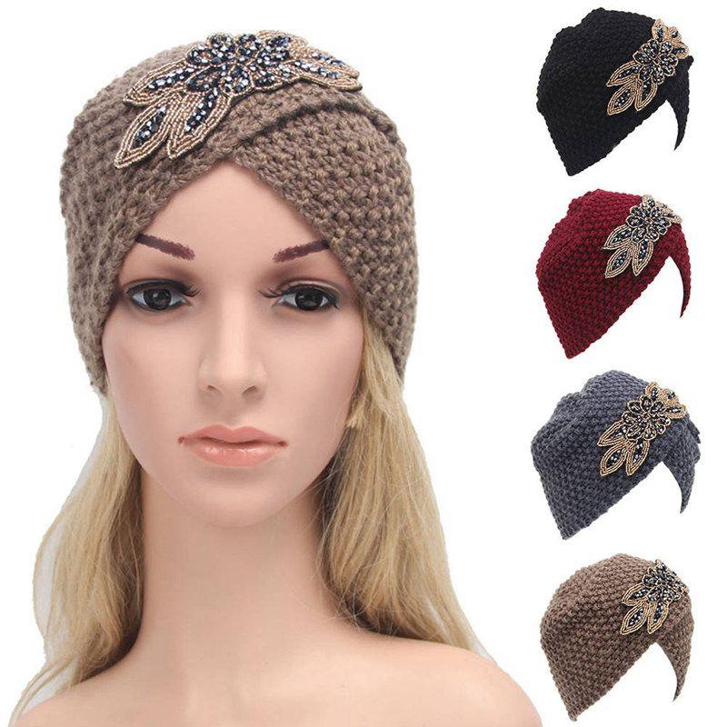 83bebc009f6 2019 New Fashion Womens Winter Warm Crochet Caps Braided Turban Headdress  Elegant Female Cap Ski Hats Knitting Wool Knit Hat Fitted Hats Straw Hats  From ...