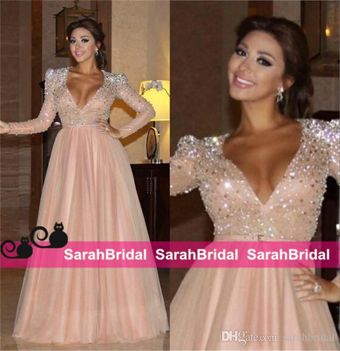 Sparking Blush Tulle Celebrity Evening Dresses Sheer Full Length Long Myriam Fares Women Formal Wear Bridal Party Gowns Abendkleider
