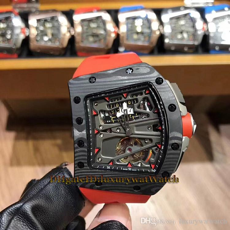 New RM70-01 Alain Prost Skeleton Big Date Tourbillon Automatic 70-01 Men Watch NTPT Carbon Fiber Case Red Rubber Road Racing Bicycle Watches