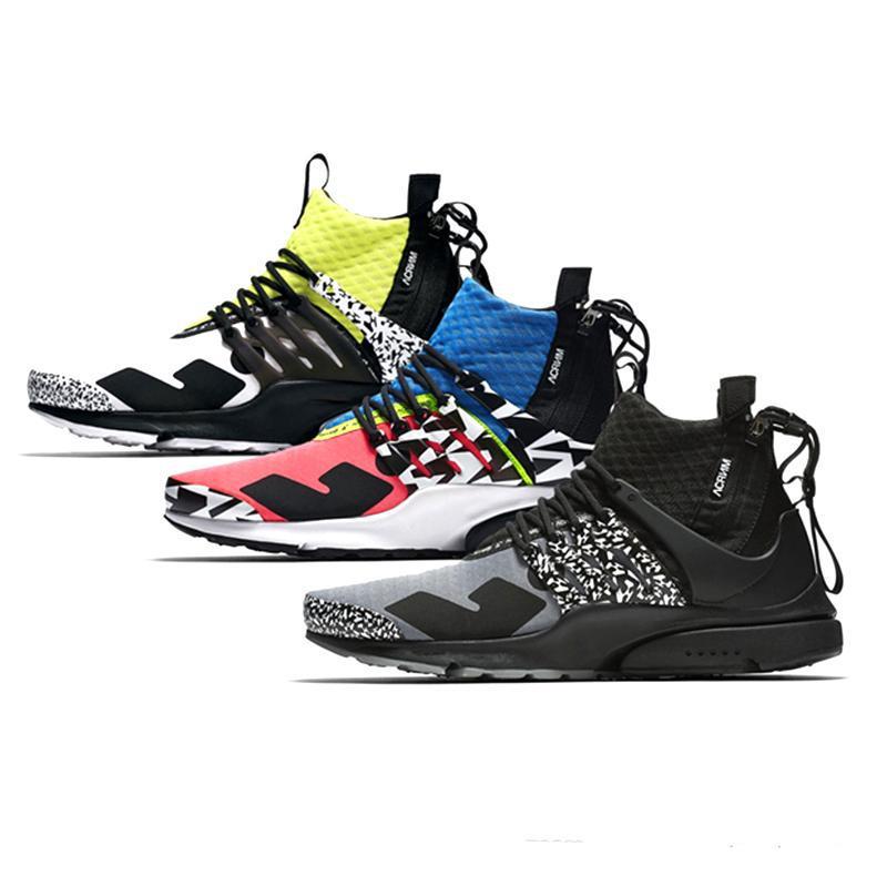 2019 New Acronym x Presto Mid Hommes Femmes Mode Casual Chaussures Designer Blanc Noir Rose Chaussures Casual Couleur 01