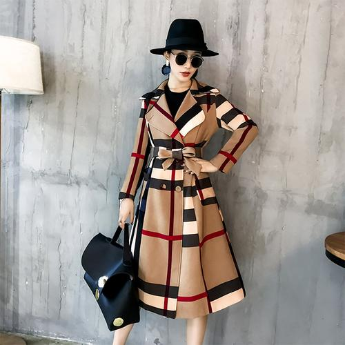 2018 Invierno Mujeres Vintage Lattice Slim Plaid Largo Coatprinted Warm Women Double Breasted Abrigo Casaco Sobretudo Feminino Trench