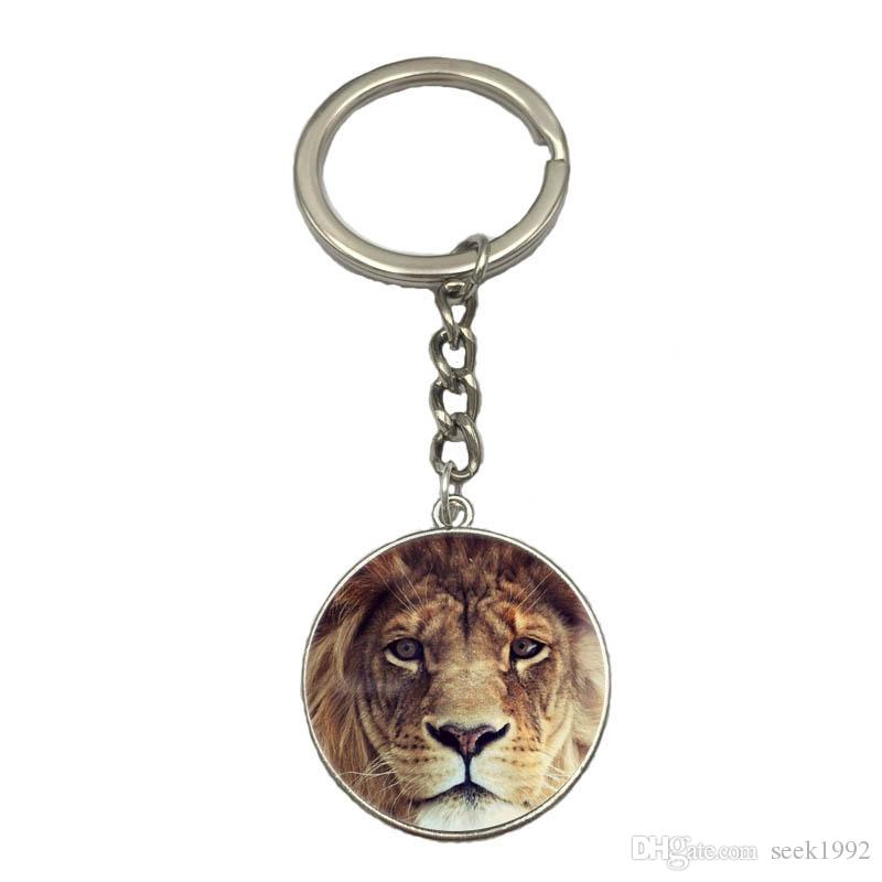 Lion Tiger DIY Silver Chain Keychain Handmade Glass Dome Pendant Key Ring Car Key Chain Best Gift For Friend