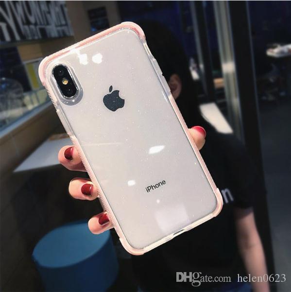c365a382dcc Fundas Para Celulares Personalizadas Caja De Lujo Del Teléfono Del Polvo  Del Brillo Para El IPhone X XR XS Max 8 7 Plus 6 6S Plus Transparente TPU A  Prueba ...