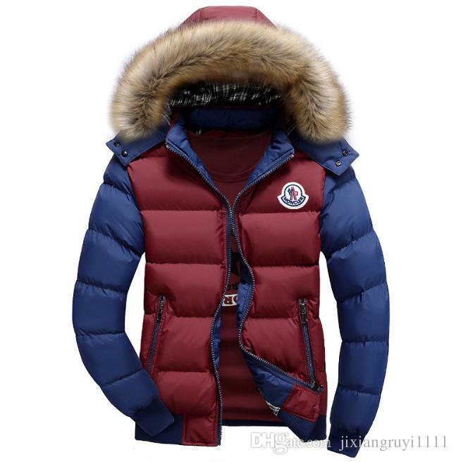 Venta al por mayor- Hombres abrigo de invierno cuello de piel pato abajo Parka chaquetas para hombre Puffer chaqueta con capucha de piel de conejo Deisgner abrigos abrigos de la marca mujeres