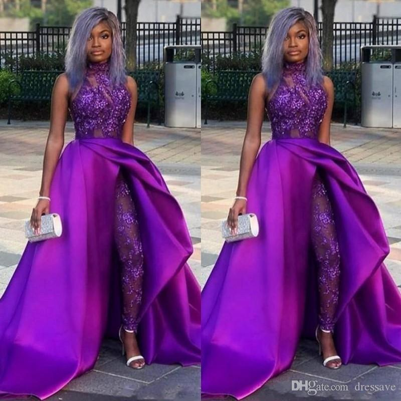 Sexy Jumpsuits Evening Gowns With Detachable Train High Neck Lace Appliqued Bead Prom Dress Luxury African Party Women Pant Suits