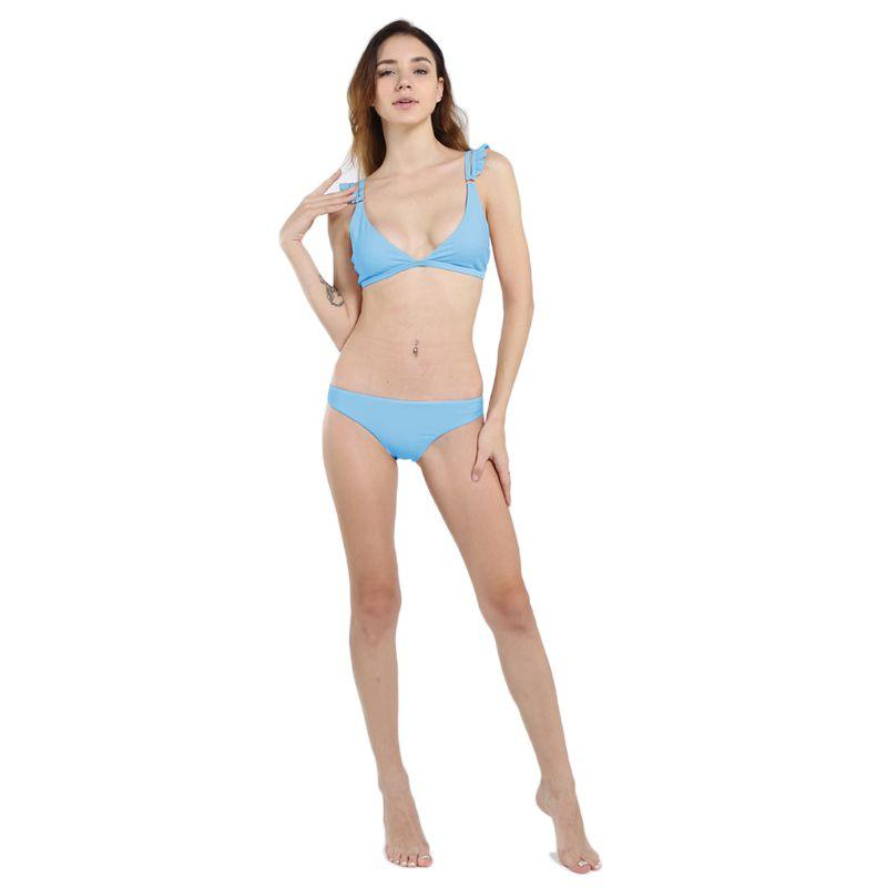 5a1fa70a95a 2019 Women Sexy Two Piece Bikini Set Sweet Candy Color Swimsuit Deep V Neck  Double Straps Pleated Ruffles Bra Low Waist Thong Bathing From Odeletta, ...