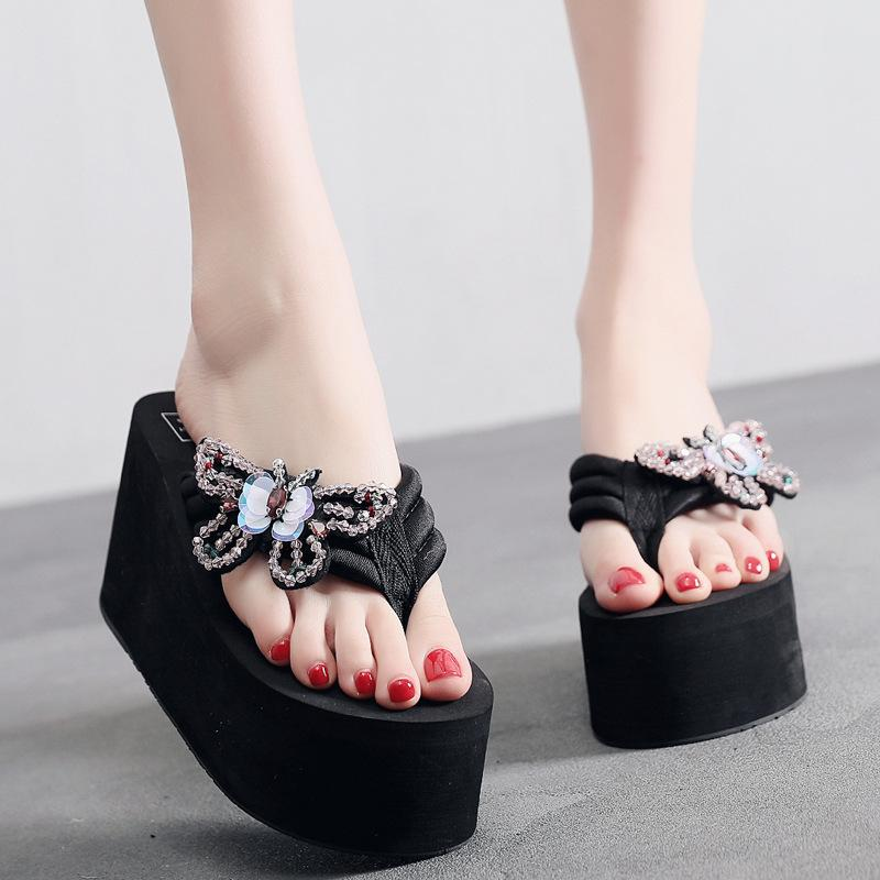 5b497db760 2019 High Heeled Flip Flops Female Summer Wear Thick Bottom Ladies Slippers  Rhinestone Butterfly Beach Wedge Sandals And Slippers Fashion Shoes Happy  Feet ...