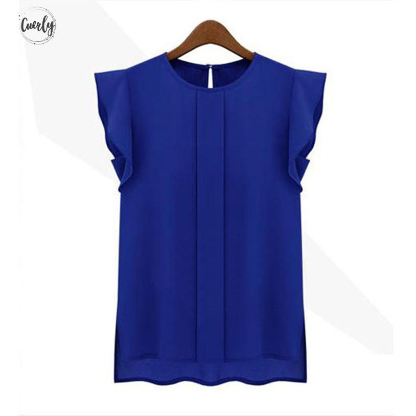 Tops Blouses Woman Fashion Solid Womens Tops And Blouses Chiffon Shirts Ol Round Collar Sleeveless Ruffles Plus Size