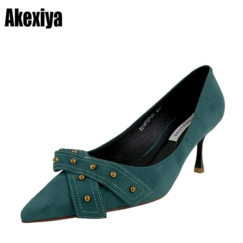 8499d5de4b8 Dress Shoes 2019 New Hot New Style Rivets High Heels Women Pumps Fashion Pointed  Toe Party Black Blue Size 34 39 D520 Shoe Boots Sexy Shoes From Deals111