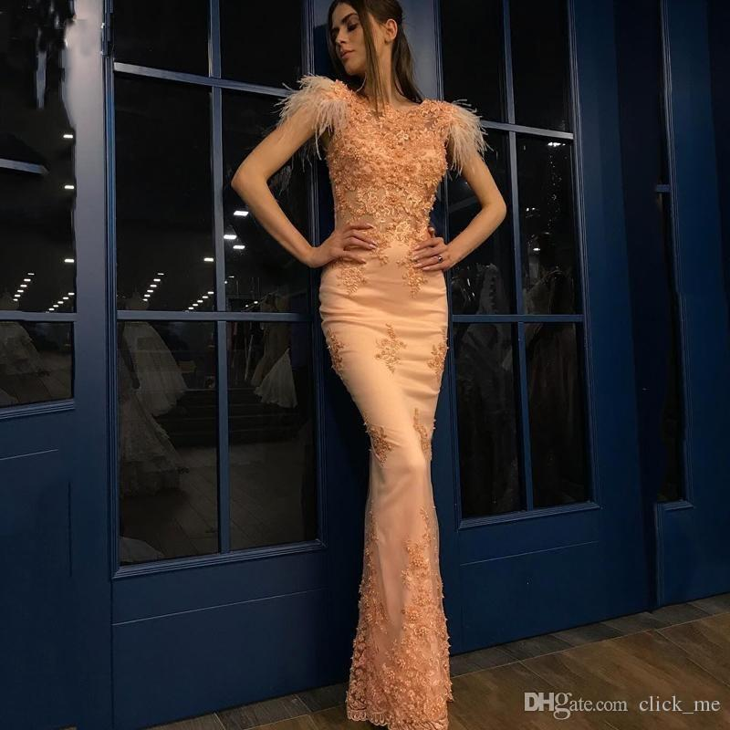purchase cheap c1f6f 3be91 Eleganti abiti da sera a sirena con piume, maniche lunghe, maniche lunghe,  applicazioni speciali, abiti da cerimonia, abiti da cerimonia