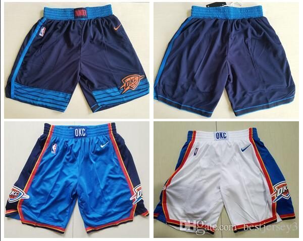 sneakers for cheap 17090 ee520 Men's Oklahoma City Shorts Thunder White Blue Navy 2018/19 Icon Edition  Swingman Shorts