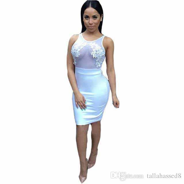 2fa12ba9c1 Compre Vestido De Verano Fiesta Niza Negro Vestidos De Vendaje Malla Sin  Mangas Floral Bordado Mujeres Sexy Vestido Ajustado Blanco A  37.14 Del ...