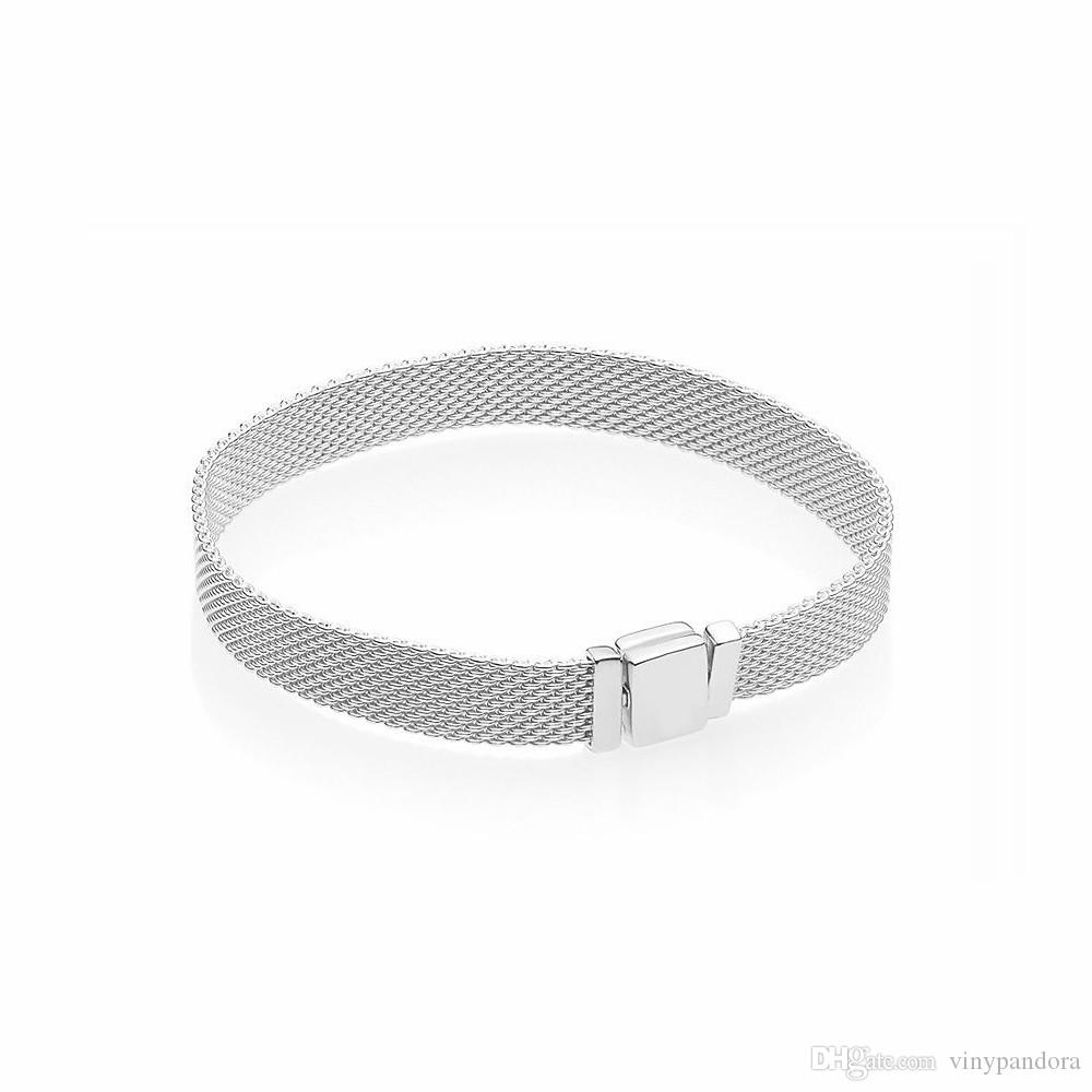 925 Sterling Silver Reflexions Mesh Bracelet Fits For European Pandora  Bracelets Charms and Beads