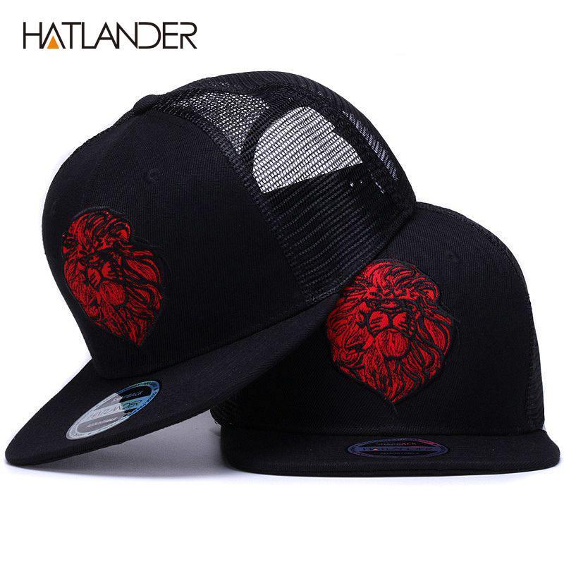 Satın Al HATLANDER Orijinal Siyah Beyzbol Kapaklar Erkek Kız Yaz Güneş Şapka  Nakış Için Aslan Örgü Snapbacks Hip Hop Kemik Kamyon Şoförü Şapka 9c68f1e1ad