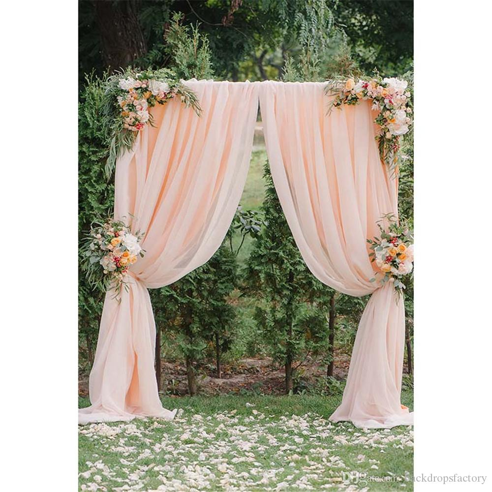 Countryside Style Wedding Party Background for Photography Printed Blush Curtain Arched Door Flowers Petals Photo Booth Backdrop