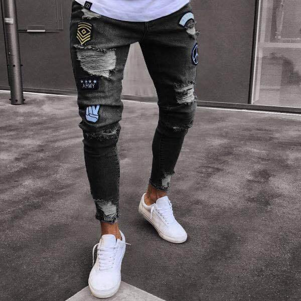 2018 Men Jeans Stretch Skinny Patchwork Hole Distressed Washed Casual Solid Male Denim Ripped Retro Slim High Quality