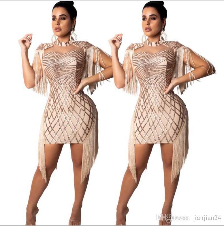 859ead15f86 Explosion models, popular women's fashion, sexy sequin dress, nightclub  sequin dress female