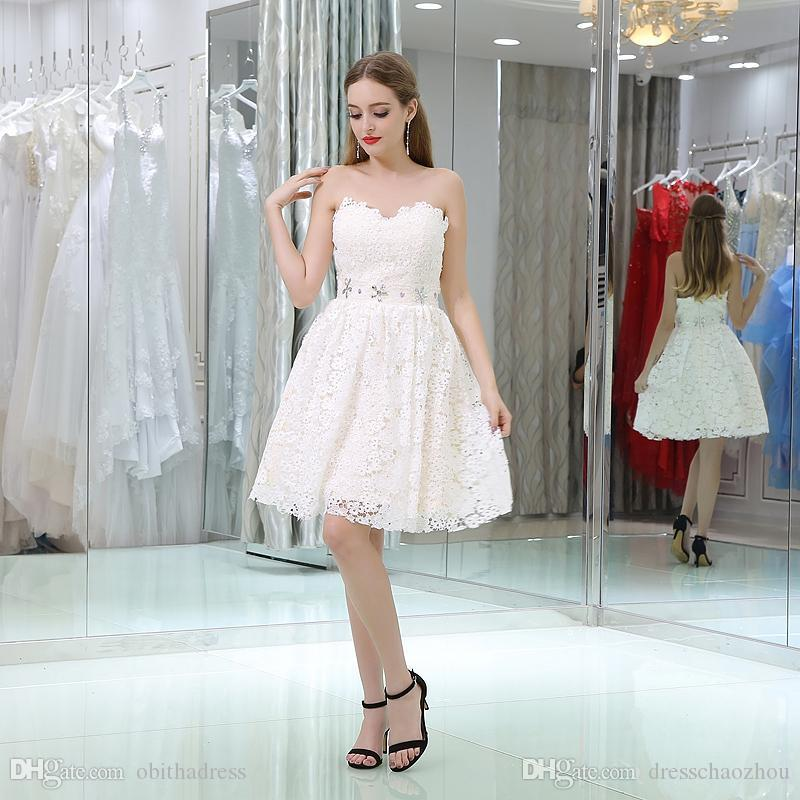 40a974e7d1a Simple And Elegant White Lace Short Cocktail Dress Seam Beads Rhinestone  Knee Length Prom Dresses Graduation Gown Black Lace Cocktail Dress Buy Dress  Online ...