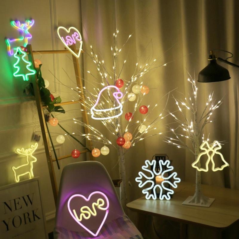 bb1408d014c Compre Led Luz De La Noche Navidad Usb Regalo Ciervo Anillo Nieve Sombrero  Amor Árbol De Navidad Decoraciones Luces De Cadena Regalos De NavidadDIY ...