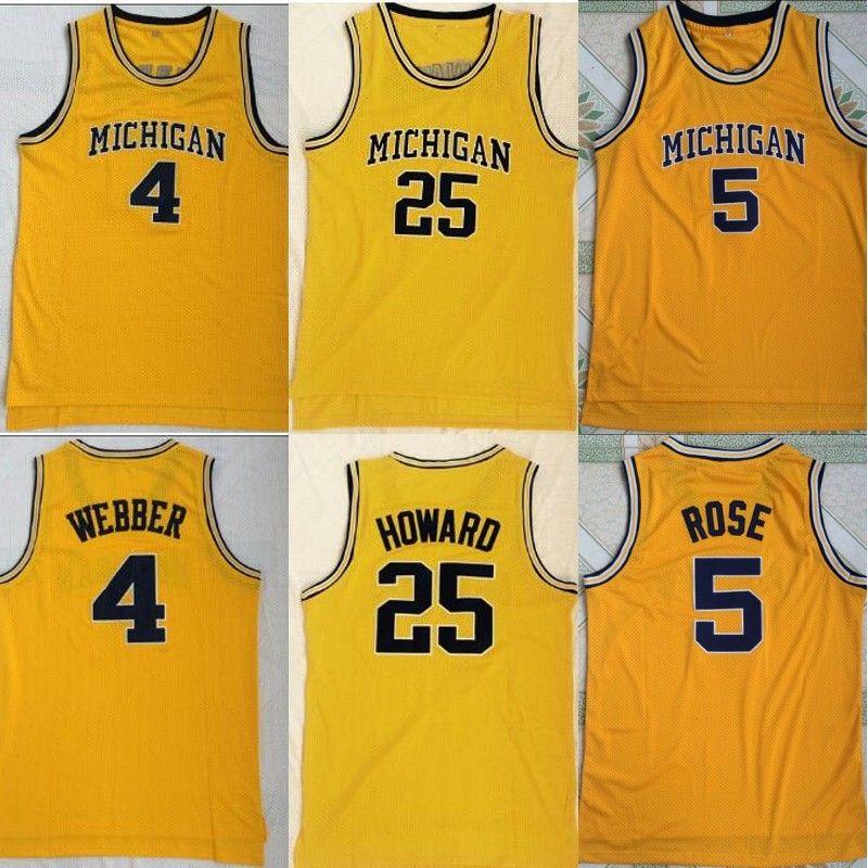 watch d70c6 a6968 Michigan Wolverines Jersey 5 Jalen Rose 25 Dwight Howard 4 Chris Webber  University Basketball Jersey Free Shipping