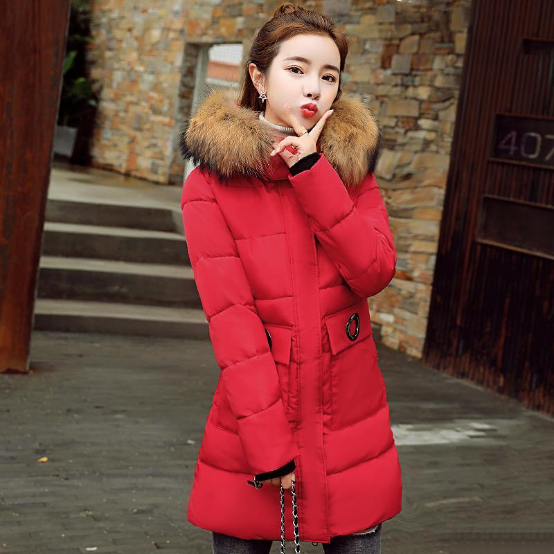 20598f4a9 Big Fur Collar Winter Jacket Women Hooded Cotton Padded Female Coat Parka  Long Parkas Outwear 2019 New Arrival Coat Warm 2lj0864
