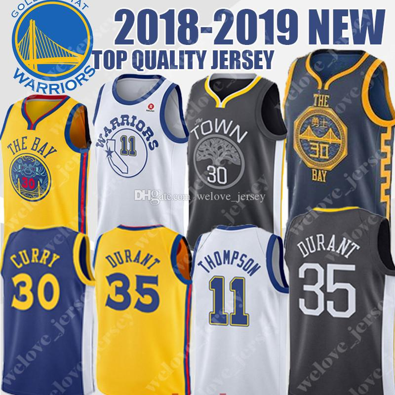 buy popular 69e00 d9b1b Golden 30 Curry State 35 Durant Warriors jersey 11 Thompson Men's  basketball jerseys top quality 2018-2019 NEW top quality