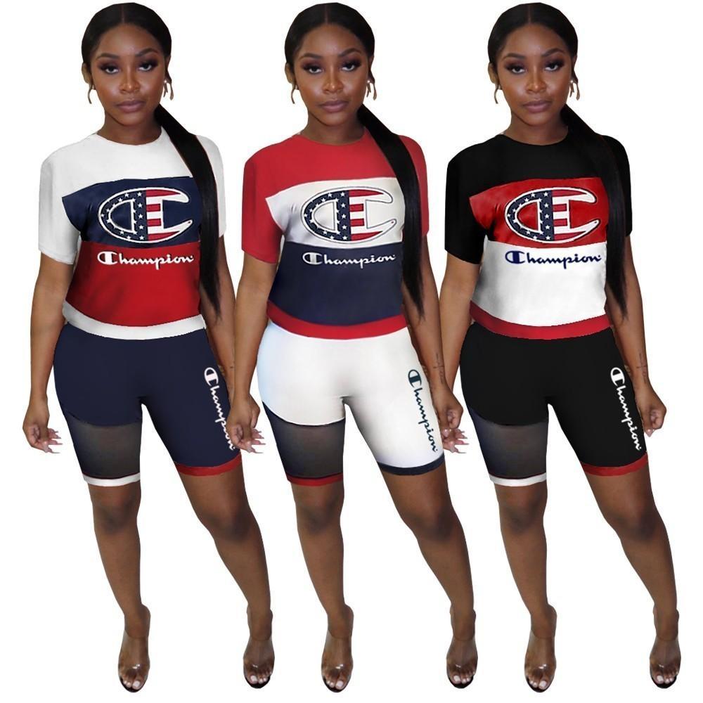 34560151293 Summer Designer Tracksuits Champion brand Women 2 Piece Outfits Striped T- shirt + Shorts Set Brand Sportswear Luxury Bodysuit Joggers Set