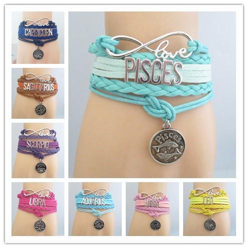 Fashion Infinity Love Constellation Gift Bracelet Aries Taurus Gemini  Scorpio Virgo Leo Pisces Aquarius Friendship Gifts