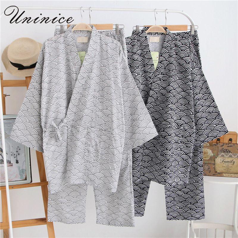 6b0515f302 Traditional Men Japanese Pajamas Sets Simple Kimono Robes Yukata ...