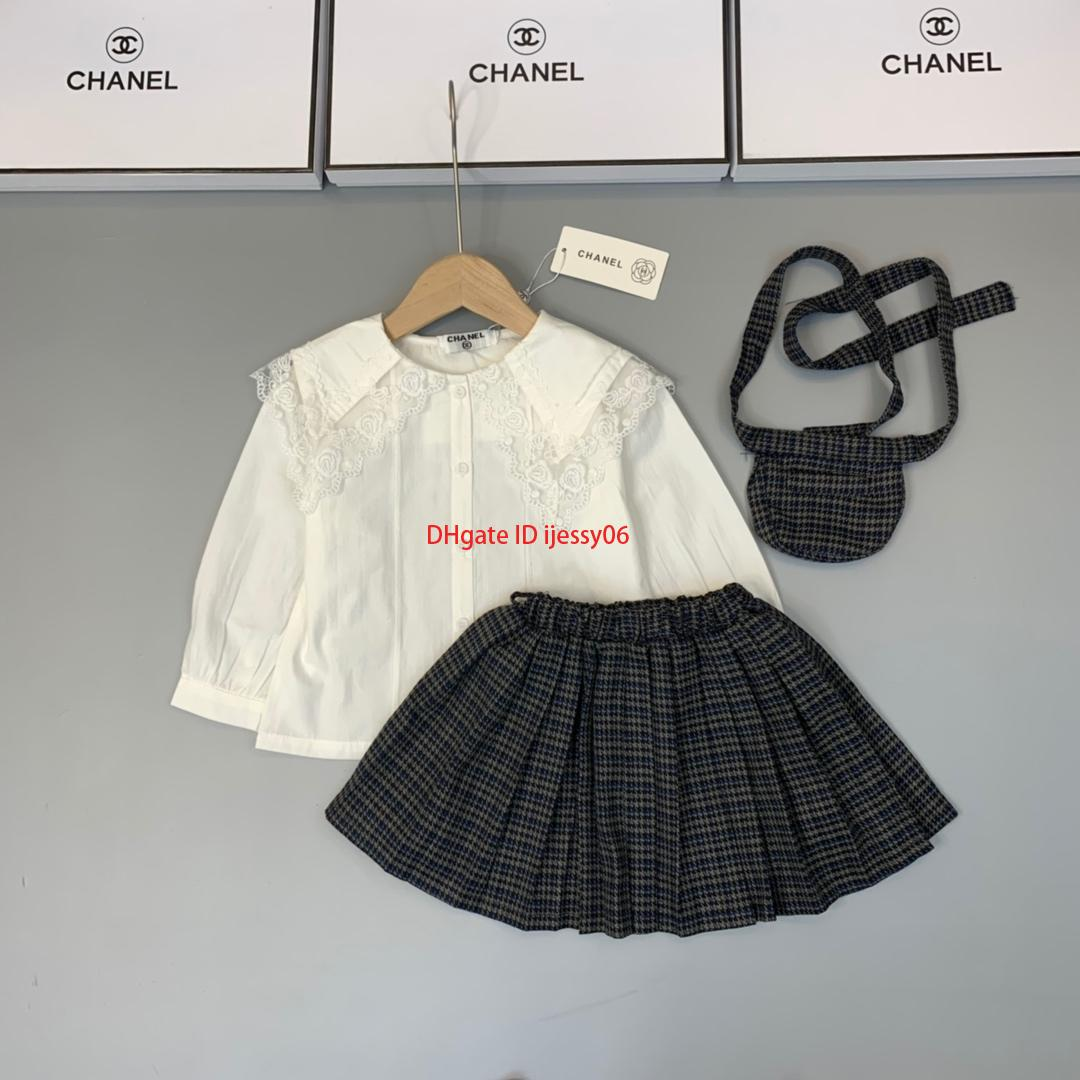 Girls skirt set kids designer clothing lace doll collar shirt + pleated skirt 2pcs autumn cotton set sweet and lovelynew