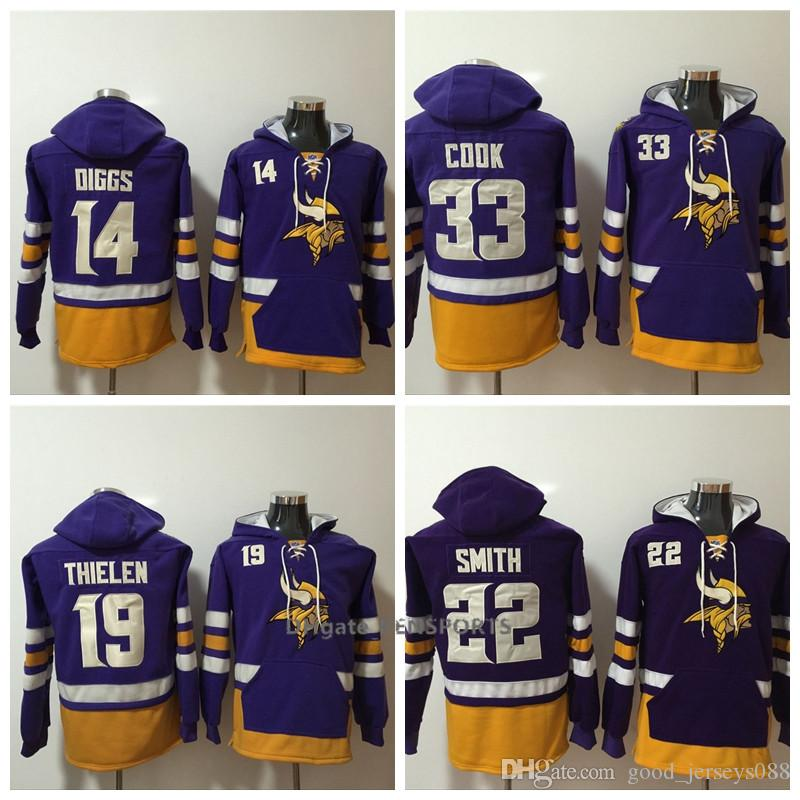 the latest 8a1f9 48b6f Men Minnesota Vikings Hoodie 22 Harrison Smith 33 Cook 19 Thielen 8 Cousins  14 Diggs American Football Stitched Pullover Sweatshirt