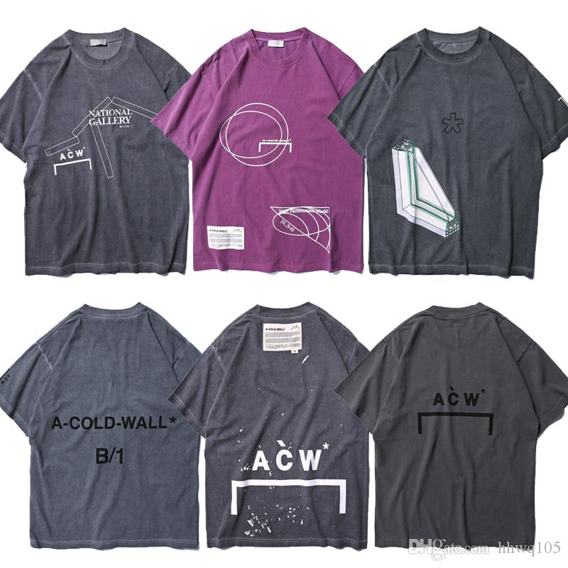 cee9019e A COLD WALL ACW T Shirt Best Quality Men Women Vintage Tee Geometric Graphic  Print Short Sleeve Shirt Hip Hop Summer Tops CPI0309 One Tee A Day Random  ...