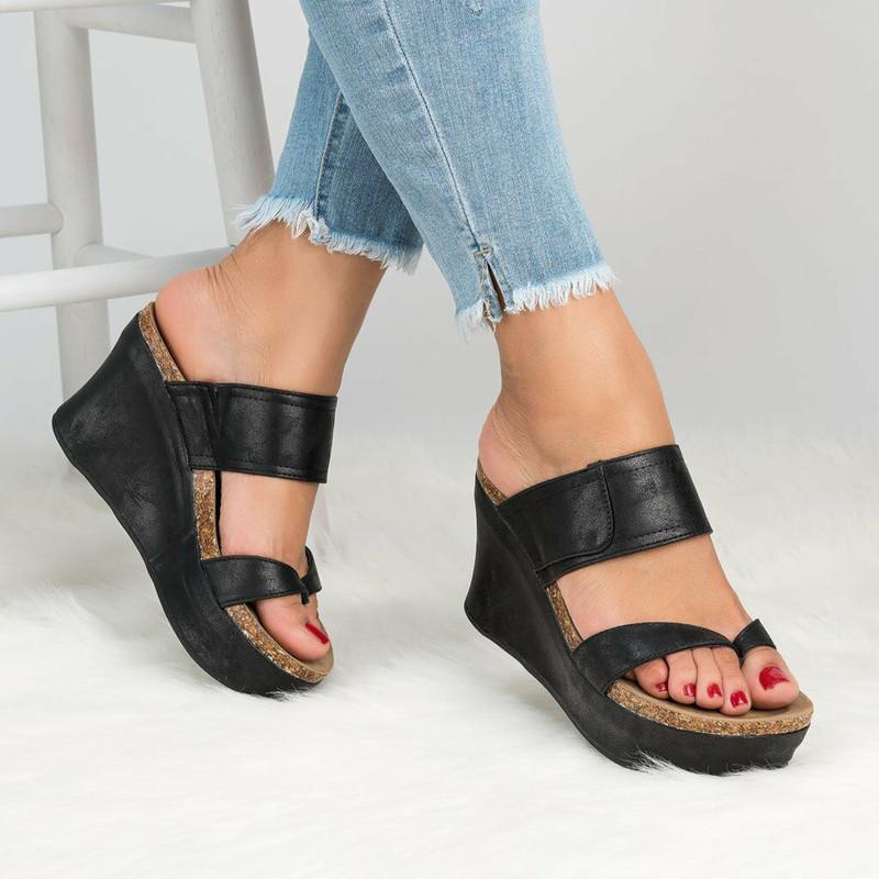 Zapatos Abierta Inferior De Alto Sandalias Verano Mujer Chanclas Tacón Punta Gruesa Cuñas 2018 Plataforma kOPulZiTwX