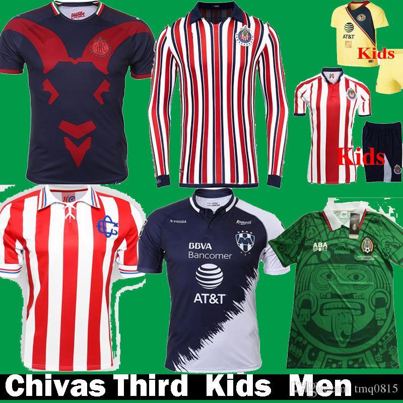 25b0d258fe 2018 2019 MX Chivas Guadalajara World Cup Mexico Retro 1998 Camisetas De  Fútbol 18 19 Monterrey Tercera Camiseta Para Niños Kits Camisetas De Fútbol  Por ...