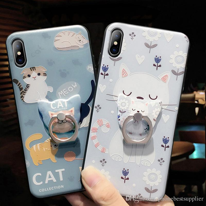 Cute Animal Cell Phone Case with Ring Holder for iPhone XS MAX XR 6s 7 8 Plus 5s Mobile Phone for Apple Cheap Women TPU Back Cover Kickstand