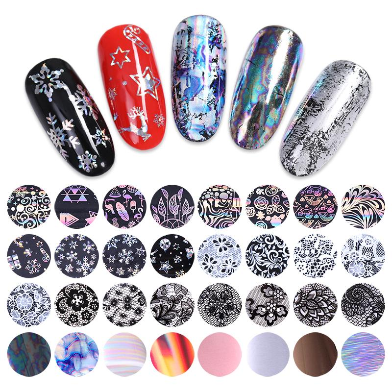 10 Rolls/Box Holographic Nail Foils Christmas Flamingo Lace Nail Art ...