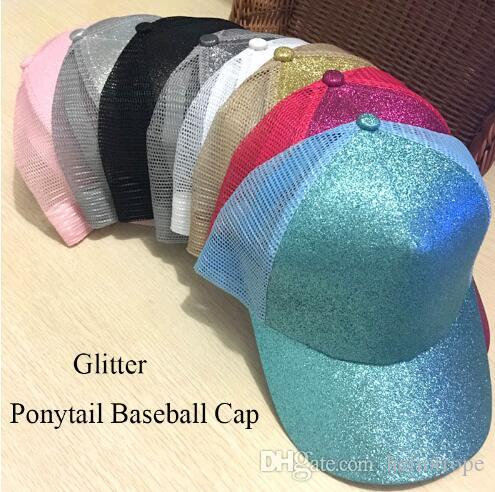 ffad958b 2019 Glitter Ponytail Baseball Cap Women Snapback Summer Mesh Hat Female  Messy Bun Hats Casual Adjustable Streetwear Hip Hop Cap